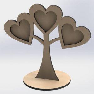 Макет рамки дерева с сердцами