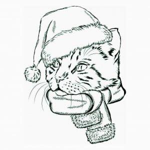 Векторный рисунок новогодний кот