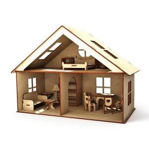 Макет кукольного дома с мебелью
