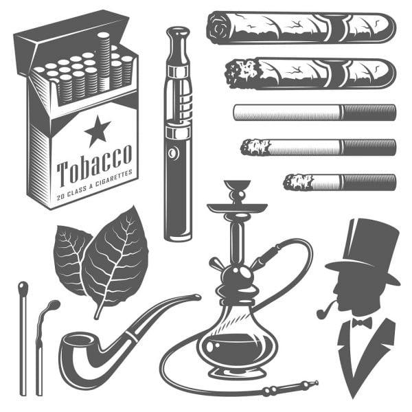 Векторный табачный набор