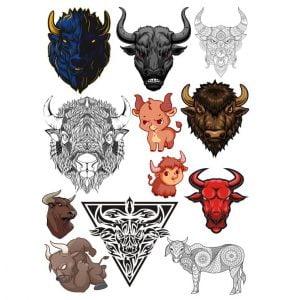 Векторный набор быков