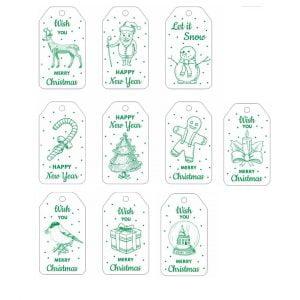 Макет рождественских и новогодних бирок
