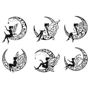 Фея на луне в векторе
