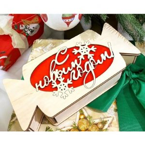 Макет новогодней коробки конфеты