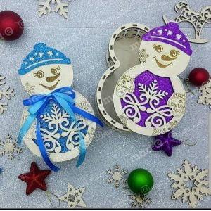 Макет шкатулки снеговика