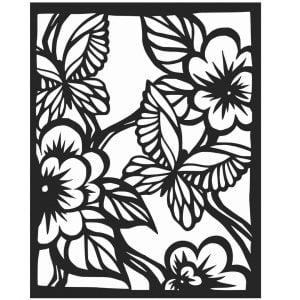 Макет декоративной панели с цветами