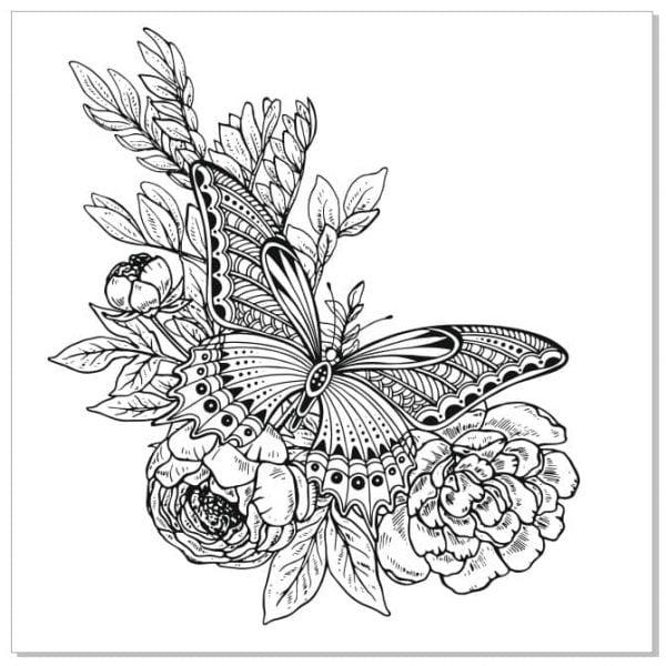Векторный рисунок бабочки на цветах