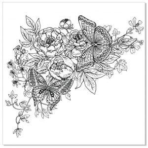 Цветы с бабочками векторный рисунок