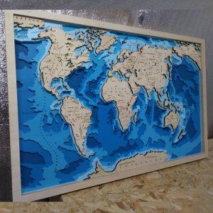 Макет карты мира с глубиной моря