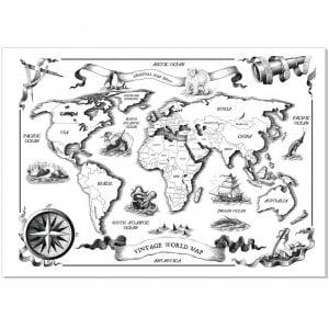 Макет старинной карты мира