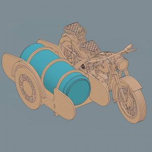 Макет мотоцикла с коляской под пиво