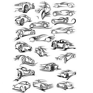 Автомобильные силуэты в векторе