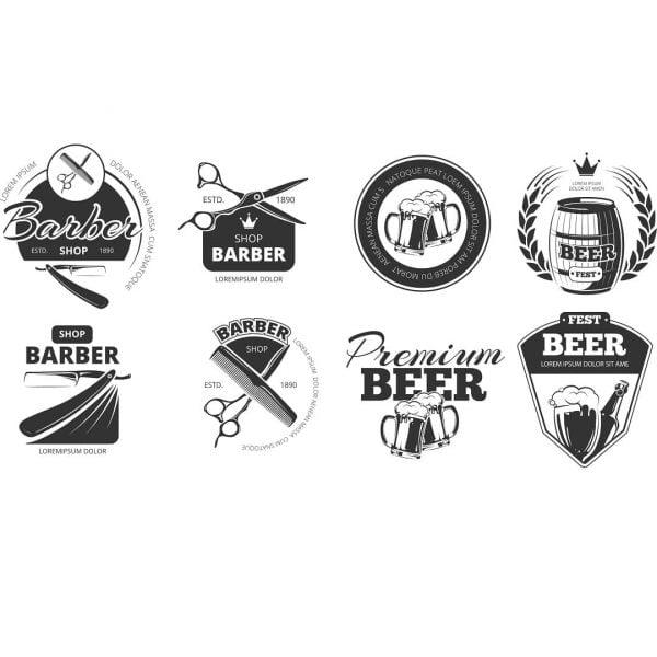 Барбер и пиво логотипы в векторе