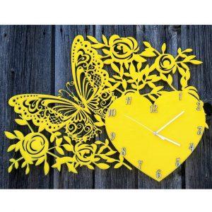 Макет часов с сердцем и бабочкой