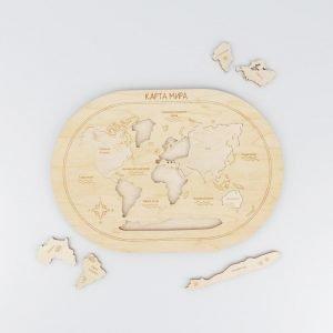 Пазл карта мира макет