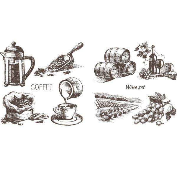 Рисунки кофе и вино в векторе