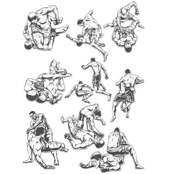 Векторный рисунок борьбы и ММА