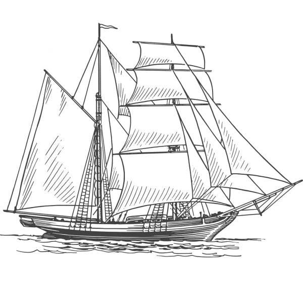 Векторный рисунок парусника