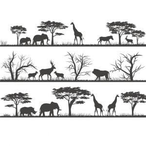 Саванна с животными в векторе