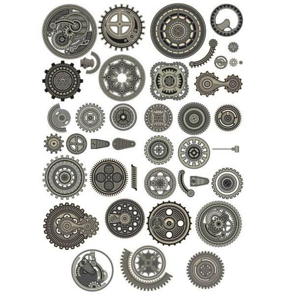 Шестерёнки и механизмы в векторе