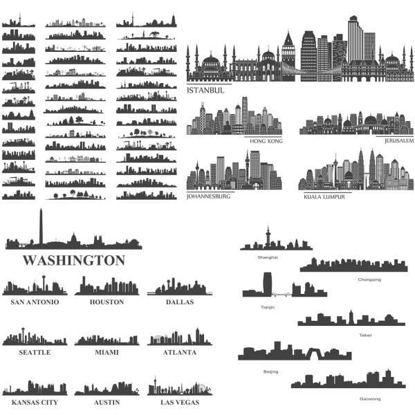 Векторные силуэты городов