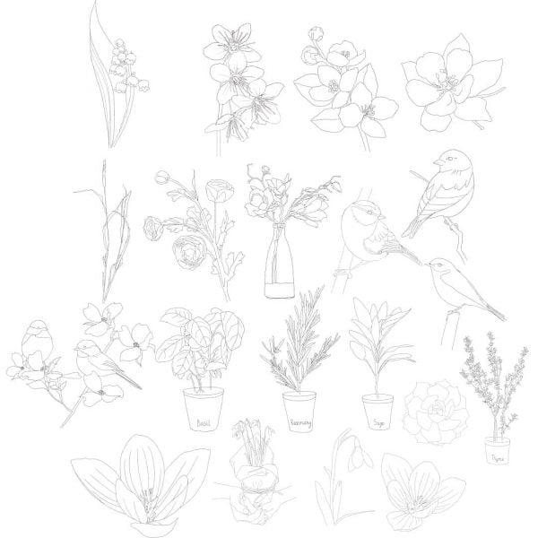 Весенние рисунки в векторе