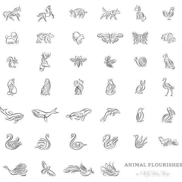 Животные линией в векторе