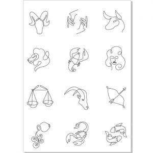 Знаки зодиака одной линией