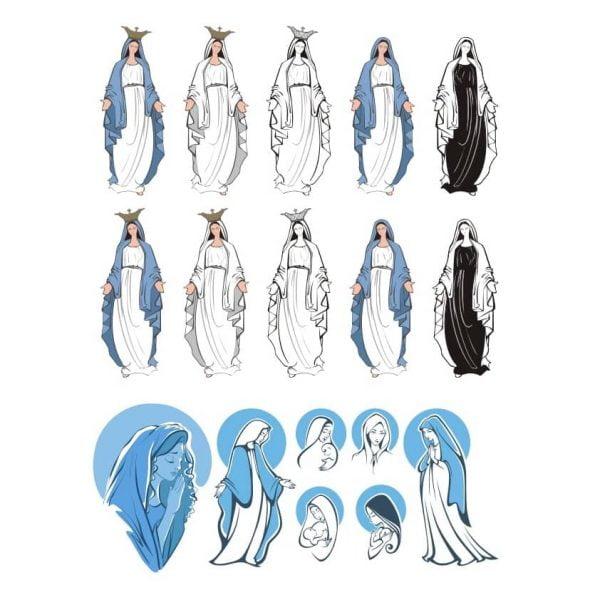 Дева Мария векторный рисунок