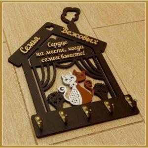 Макет ключницы с котами