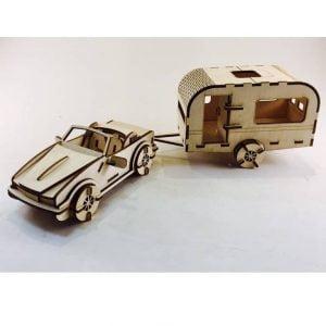 Машина с трейлером макет
