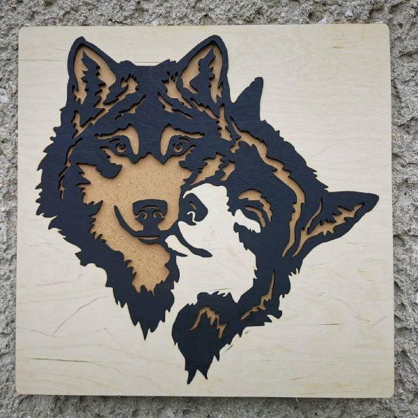Панно волк с волчицей макет