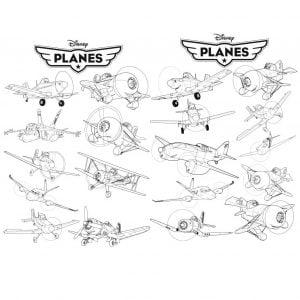 Самолёты из мультфильма в векторе