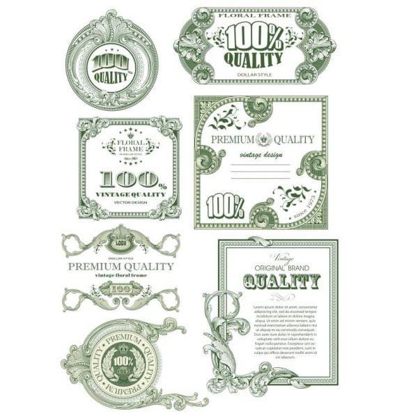 Винтажные сертификаты в векторе