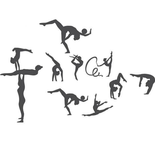 Силуэты акробаты и лёгкая атлетика