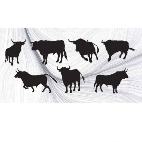 Силуэты быков