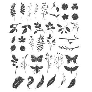 Цветы, листья, бабочки