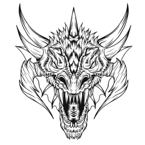 Дракон рисунок для гравировки 1