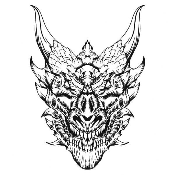 Дракон рисунок для гравировки