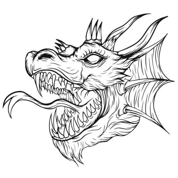 Дракон рисунок для гравировки 3