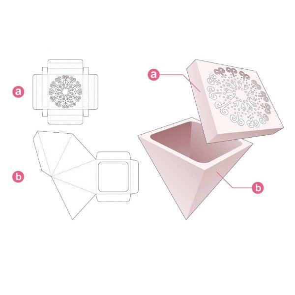 Коробка пирамида с крышкой