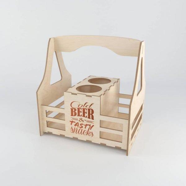 Макет корзинки под пиво со снеками