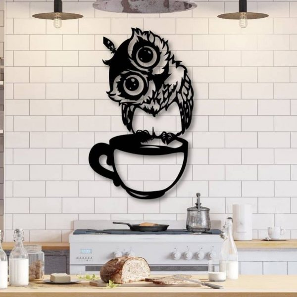 Панно сова на чашке