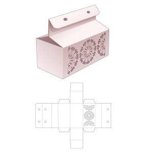 прямоугольная коробка с ручкой - крышкой