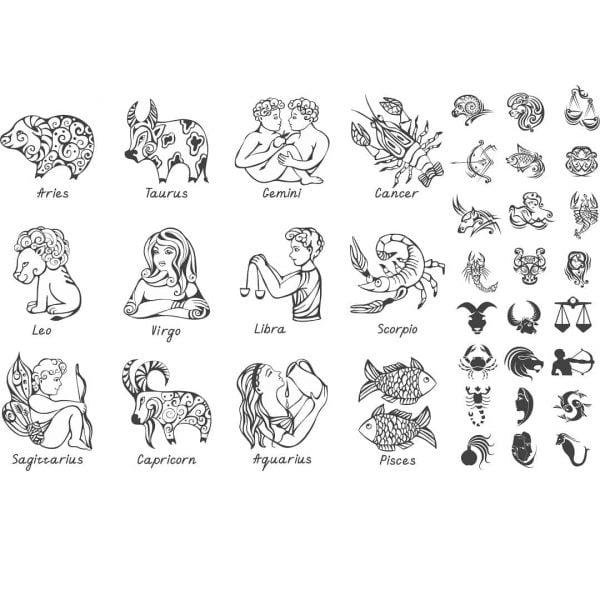 Набор знаков зодиака в векторе