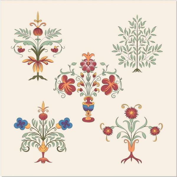 Цветочный ретро орнамент