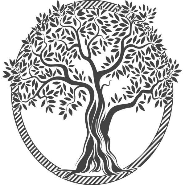 дерево в круглой рамке