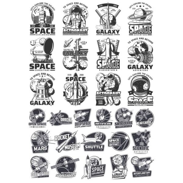 Космические эмблемы в векторном формате