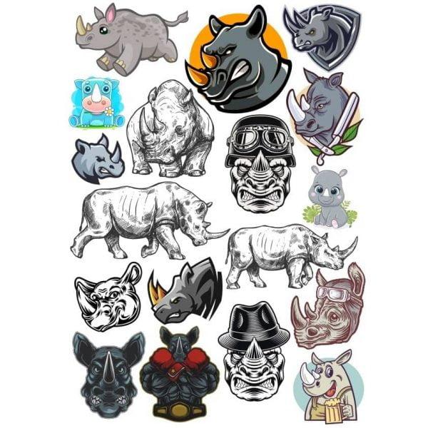 Векторные рисунки носорогов