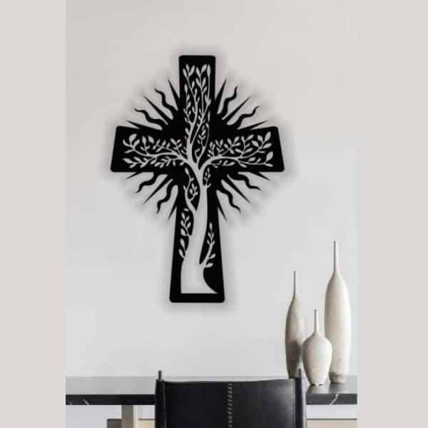 Макет панно крест с деревом